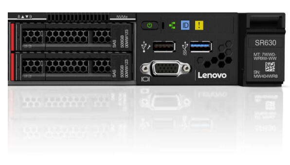 Lenovo ThinkSystem SR630 Close Up View of Drives and Ports