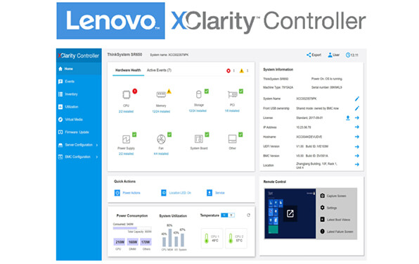 Lenovo ThinkSystem SR630 XClarity Controller Software