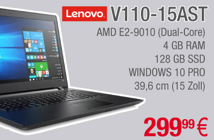 Lenovo V110-15AST Notebook, E2-9010
