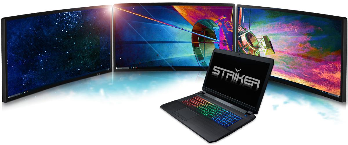 Hyrican® Striker Notebooks unterstützen bis zu drei externe Displays